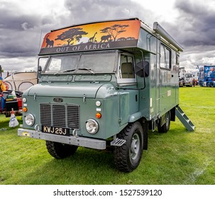 Newark, Nottinghamshire, UK – October 6 2019. Classic Landrover people carrier used for transporting tourists through the game parks of Africa on safari adventures on display.