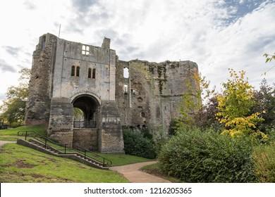 Newark, Nottinghamshire, UK - October 7th 2018: The ruins of Newark Castle on the banks of the River Trent.