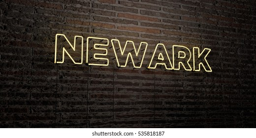 NEWARK -Realistic Neon Sign on Brick Wall background - 3D rendered royalty free stock image. Can be used for online banner ads and direct mailers.