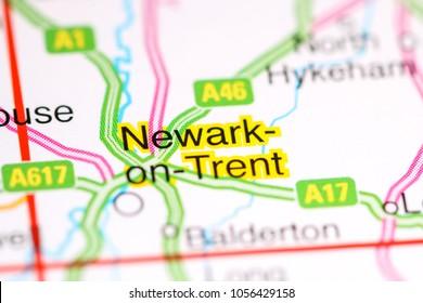 Newark-on-Trent. United Kingdom on a map