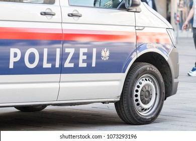 NewAustrian Federal Police van parked in the city, Vienna Austria April.20, 2018