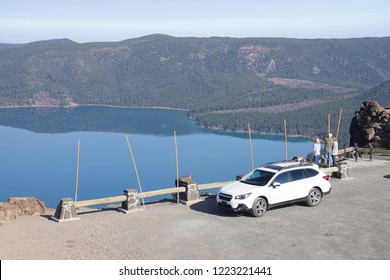 NEWBERRY CRATER, OREGON - OCT 22, 2018 - Tourists view Caldera and Paulina Lake, Newberry National Volcanic Monument, Oregon