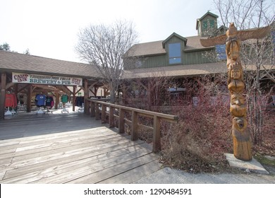Newberry, Michigan, USA - May 5, 2016: Exterior of the Camp 33 restaurant and microbrewery at Tahquamenon Falls State Park in Michigan. The pub specializes in craft beers brewed locally and on site.