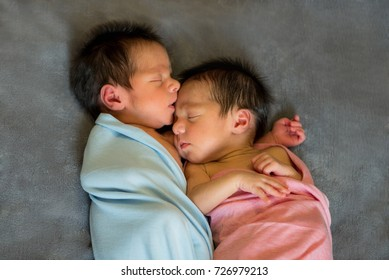 Newborn Twins Boy Girl Sleeping Together Stock Photo Edit Now