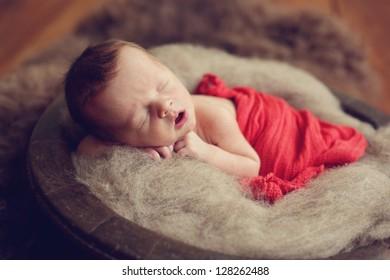 Newborn baby boy in a bowl
