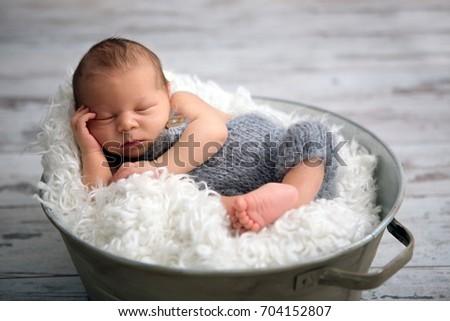 bfad92c7c Newborn Baby Boy Sleeping Peacefully Basket Stock Photo (Edit Now ...