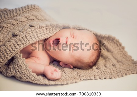 Newborn Baby Boy Wrapped Knitted Blanket Stock Photo Edit Now