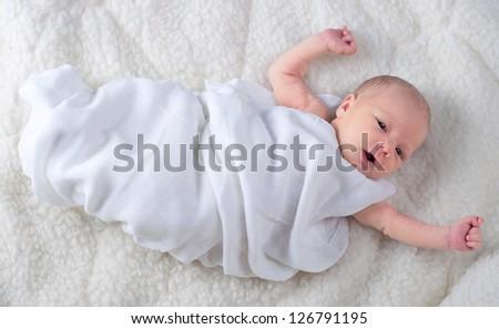 Newborn Baby Boy Wrapped White Blanket Stock Photo Edit Now