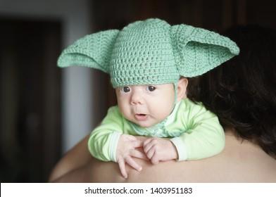 "Newborn baby in the cap ""Master Yoda"""