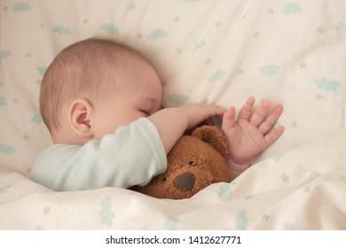 Newborn baby child asleep hugging a bear. Sleeping baby girl boy hid his nose in a teddy bear. Close-up soft focus baby portrait