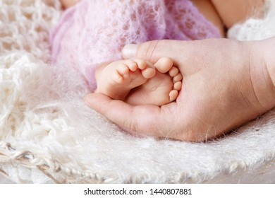 Newborn baby feet in father hands. Father holding legs of the kid in hands. Close up image.  Beautiful conceptual image of parenthood