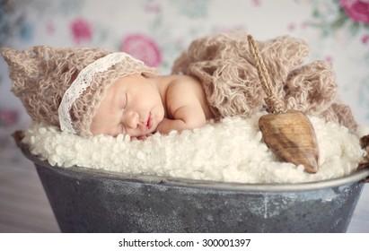 Newborn baby girl asleep