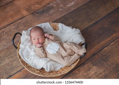 Newborn baby girl in a brown jumpsuit is lying in a wicker basket. Basket on wooden background. Newborn photo shoot.