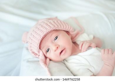 Newborn baby girl with hat