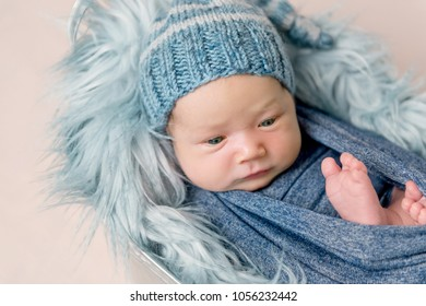 Newborn baby lying in trough with a blue blanket