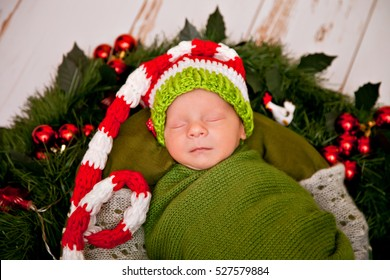 newborn baby in New Yearu0027s gnome costume lays in a basket with Christmas wreath  sc 1 st  Shutterstock & Newborn Baby New Years Gnome Costume Stock Photo (Royalty Free ...