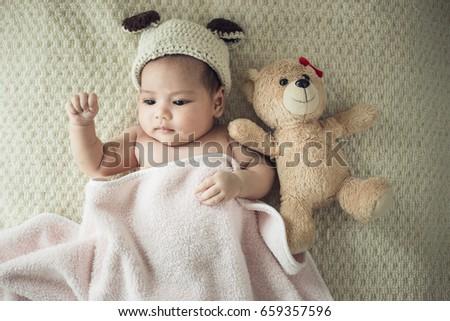 b7eaf6b40b4 Newborn Baby On Blanket Teddy Stock Photo (Edit Now) 659357596 ...
