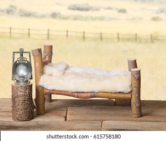 A newborn baby photography backdrop prop of a rustic bed.