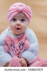 newborn baby portrait. cute smiling baby.  selective focus