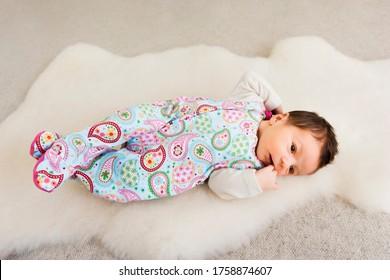 Newborn baby portrait on fur - Kempen, Germany
