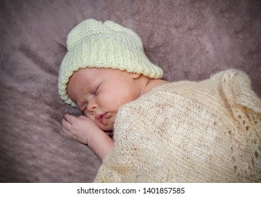 Newborn baby posing for a photo shoot, Sleeping baby