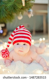 newborn baby in red knit hat near Christmas tree with lights