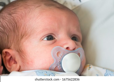 Newborn baby resting with a silicon nipple.