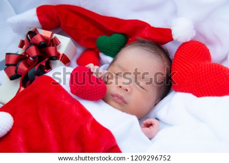 Newborn Baby Sleep Happily On White Stock Photo Edit Now