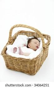 Newborn Baby Sleeping In Basket