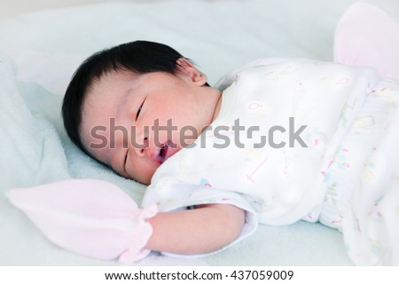 Newborn Baby Sleeping On Mattress Asian Stock Photo Edit Now