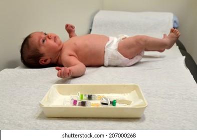 Newborn baby vaccination. Concept photo child healthcare. copyspace