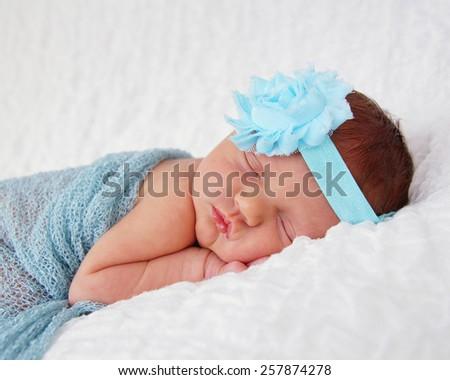 Newborn Baby Wearing Blue Turquoise Wrap Stock Photo Edit Now