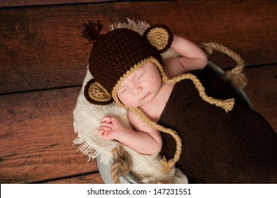 A newborn baby wearing a crocheted monkey hat and sleeping in a galvanized  bucket. Shot e91062b65bc1