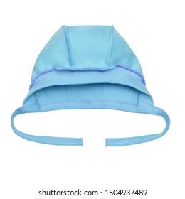 newborn blue baby hat on a white background.