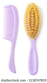 Newborn brush and comb isolated on white background. Kiddie-size hair brushes.
