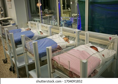 Newborn care hospital nursery ward interior with babies in cribs. Turin, Italy - March 2015