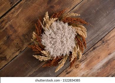 Newborn Digital Background Autumn Floral Wreath and Fur on a Wood Background