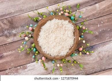 Newborn digital background flokati with easter egg decoration