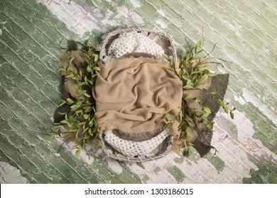 Newborn Digital Background Tobacco Basket on Green Brick