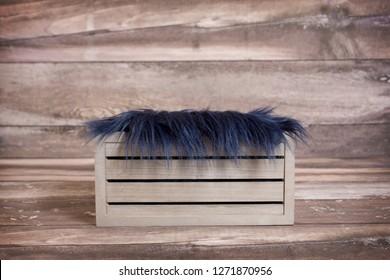 Newborn digital background wood crate with blue flokati