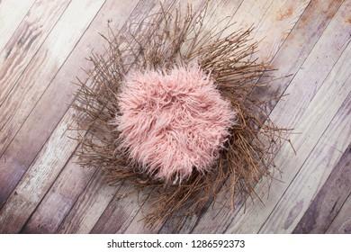 Newborn Digital Background Wreath and Fur