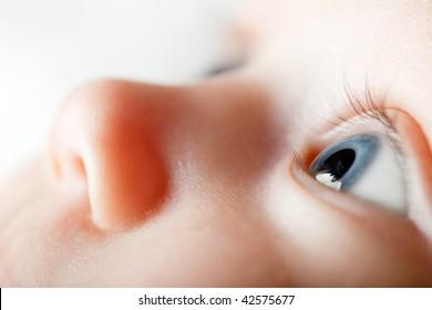 Newborn eye close-up