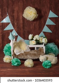 Newborn faux bed prop for studio photography.