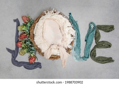 Newborn photography digital background -Love, Boy, Proteas, Natural