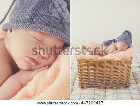 524a0c3421ea Newborn Premature Baby Boy Sleeping Basket Stock Photo (Edit Now ...
