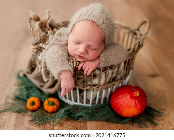 Newborn sleeping in basket next to ripe pumpkins