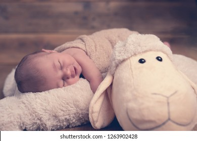 Newborn sweet adorable baby sleeps on beige soft toy wooden background