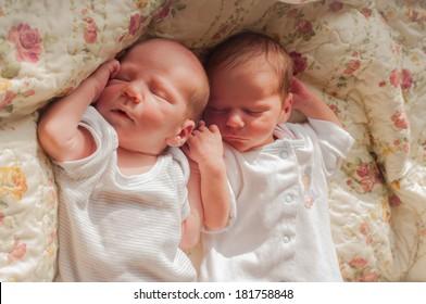 Newborn twins sleeping, pastel colours