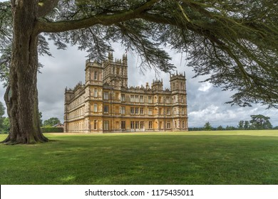 Newbury, Hampshire, UK - August 2015: Highclere Castle, filming location for Downton Abbey