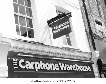 Newbury, High Street, Berkshire, England - August 21, 2015: The Car Phone Warehouse sign over store, British mobile phone company with over 2,400 stores across Europe